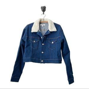 Etica Chelsey darkblu denim fauxfur collar jacketS